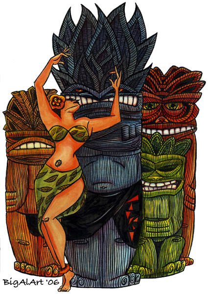 tiki dance of desire Big Al Art caricatures