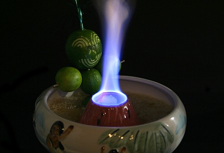 Halikai Hot Tub Tiki Drink with lime garnish to end all garnishes