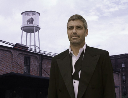George Clooney Danny Ocean seen leaving Buffalo Trace, scene of the heist