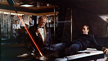 James Bond and Goldfinger discuss lasers