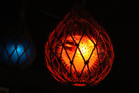 Tiki blowfish lamp