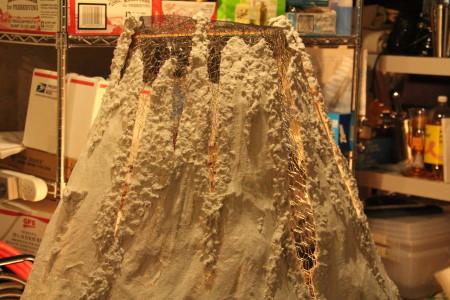 Claycrete to simulate volcano lava